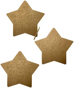 Whittlewud Wood Set of 3 Telugu Alphabet Tracing Board;Montessori Preschool Learning Toys;Fine Motor Skills;Educational Toys for Kids With Attractive Star Shape