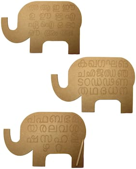 Whittlewud Wood Set of 3 Malayalam Alphabet Tracing Boards;Montessori Preschool Learning Toys;Fine Motor Skills;Educational Toys for Kids With Attractive Elephant Shape