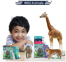 RedChimpz - 5D+ AR VR Wild Animals Flashcard for Kids | Augmented and Virtual Reality Based Educational Learning Toy | Includes 16 Flashcards | For the Age of 3-8 Yrs Comes with iOS & Android app