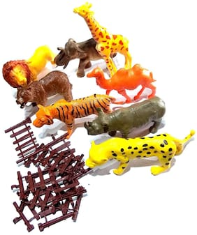 Wild Jungle Animal Toys Figure Playing Set for Kids (Pack of 8),Size- 14/7 cm