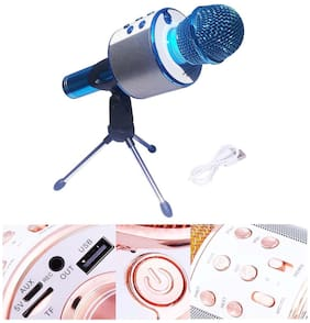 Wireless WS-858 Bluetooth Microphone Handheld Stand with Speaker for Cellphone (Multicolour)