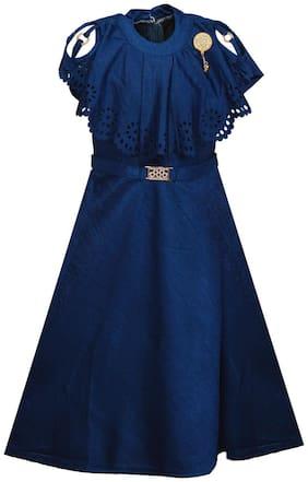 Wish Karo Girls Solid Net Long Frock Dress - (LF115blu-Blue-4-5 Yrs)