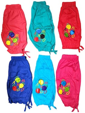 Wonder Star Small Baby Girl Super Soft Pure Cotton Capri / Bottom Wear/lower wear/ Lower Pyjamas Leggings for Girls (recommend for 18 to 24 month babies) Pack of 6 (Assorted color & design)