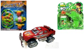 Wonder Star Combo set of 3 different toys;Spinning top with flying discs Bubble Liquid gun with liquid & Pushing Jeep Toys for kids Attractive colors | Plastic | Safe for children