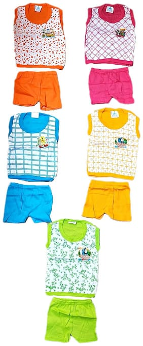 Wonder Star Present Premium Quality Small Baby Pure Cotton without sleeves with half paint suits 2 pc Set of 5 (Top+ Pajama) 6 TO 12 MONTH (Assorted Color & Design)