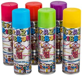 Wonder Star Present Premium Quality Holi Color Gift Combo of 6 Cans of Color Snow Spray (Assorted color & design of Cans)