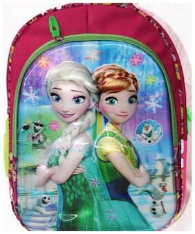 Wonder Star Present Frozen Girls 3D Print school Bag for NURSERY TO 1 CLASS Under 6 Years Kids Girls Boys Medium Size (L X B X H) (40 x 30 x 18 cm)