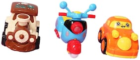 Wonder Star Combo set of 3 pull back small Toy Cars/ Vehicles for kids Attractive colors   Plastic   Safe for children