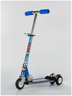 Wonderkart Kids Height Adjustable Folding Three Wheel Scooter With Tractor Wheels (Blue)