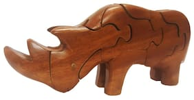 Wooden 3D Puzzle Statue Rhinocerous Toy Tabletop Gift