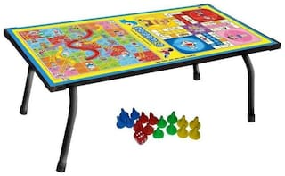 Wooden Bed Table Multi-Purpose Foldable Study Printed Wd Ludo + Snakes & Ladders  Kids Home Use  Keep Laptop With Game