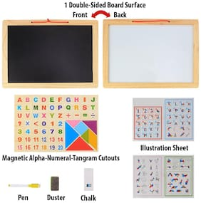 Shanaya Wooden Frame Double Sided Magnetic Whiteboard & Black Slate With Alphanumeric, Mathematical Signs And Tangram