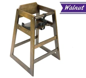 Wooden High Chair, Walnut, Natural Wood Finish Baby High Chair, Unassembled
