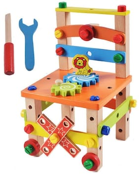 Wooden Toy Chair Multifunctional Assembled and Disassembled Learning Construction Set with Nut and Screw For Kids
