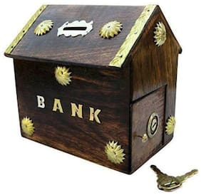Woodykart Hut Shape Wooden Coin/Money/Piggy Bank Saving Box - (Gift for Kids | Boys/Girls | Toy | Wood Brown)