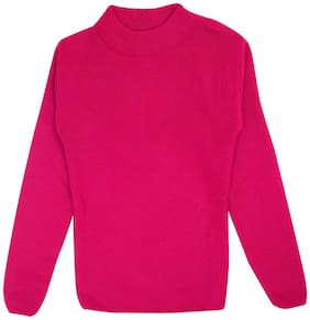 Neuvin Girl Blended Solid Sweater - Pink