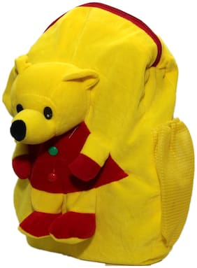 WOOS Cute Teddy Bear Soft Toy School Bag For Kids - Yellow