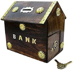 Worthy Shoppee Handcrafted Wooden Antique Money Bank For Children's
