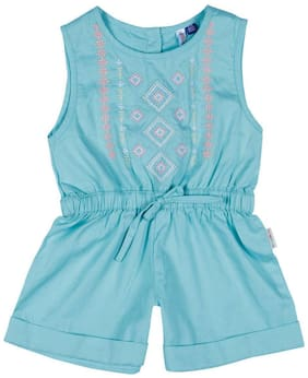 WOWMOM Cotton Solid Dungaree For Girl - Blue