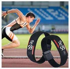 Wrist Band With Stylish Digital LED Sports Men Women Kid Wrist Watch Stopwatch