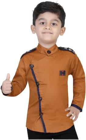 XBOYZ Boy Cotton blend Solid Shirt Brown