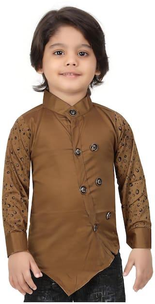 XBOYZ Boy Cotton blend Printed Kurta - Brown