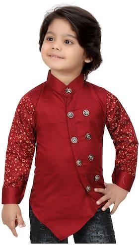 XBOYZ Boy Cotton blend Printed Kurta - Maroon