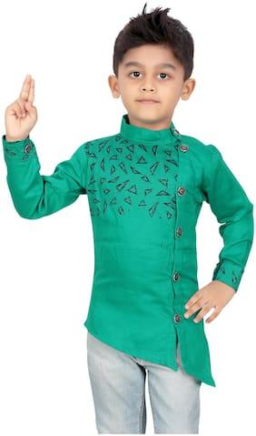 XBOYZ Boy Cotton blend Printed Kurta - Green