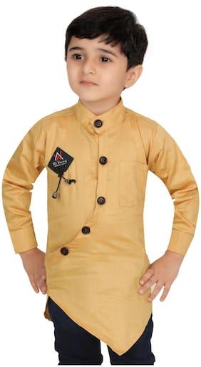 XBOYZ Boy Cotton blend Solid Kurta - Beige