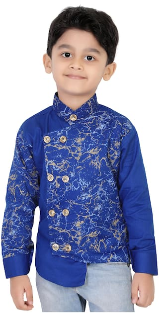XBOYZ Boy Cotton blend Printed Kurta - Blue
