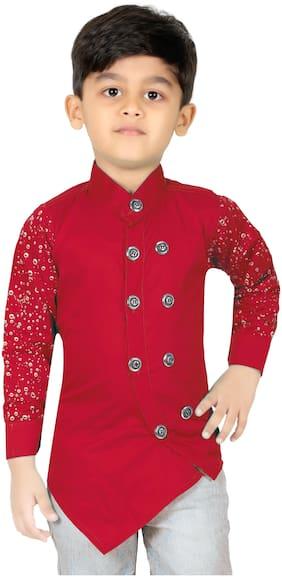 XBOYZ Boy Cotton blend Solid Kurta - Red
