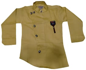 XBOYZ Boy Cotton blend Solid Shirt Beige