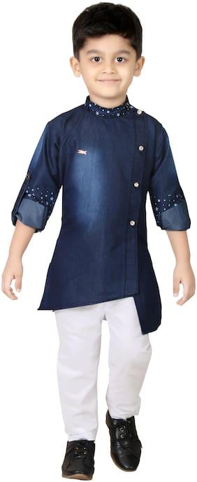 XBOYZ Boy Denim Solid Kurta pyjama set - Blue