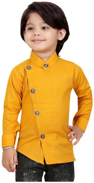 XBOYZ Boy Cotton blend Solid Shirt Gold