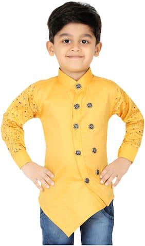 XBOYZ Boy Cotton blend Printed Kurta - Yellow
