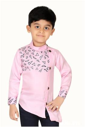 XBOYZ Boy Cotton blend Printed Shirt Pink