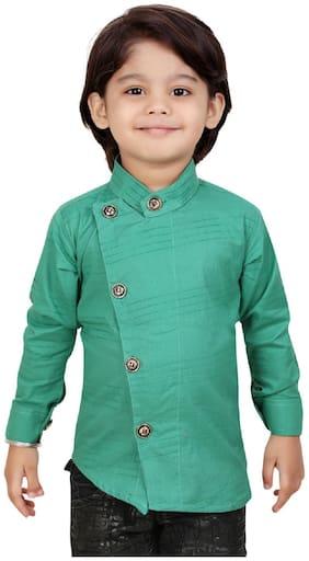 XBOYZ Boy Cotton blend Solid Shirt Green