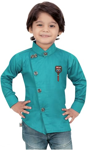XBOYZ Boy Cotton blend Solid Shirt Green