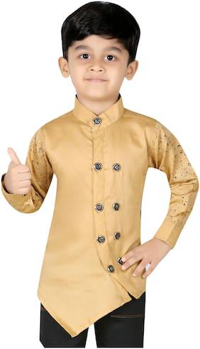 XBOYZ Boy Cotton blend Printed Kurta - Beige
