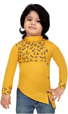XBOYZ Boy Cotton blend Printed Kurta - Gold