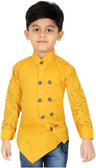 XBOYZ Boy Cotton blend Solid Kurta - Gold