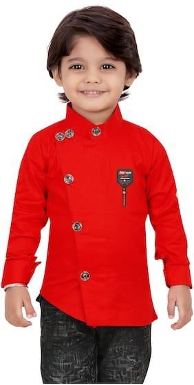 XBOYZ Boy Cotton blend Solid Shirt Red