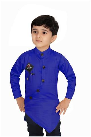 XBOYZ Boy Cotton blend Solid Kurta - Blue