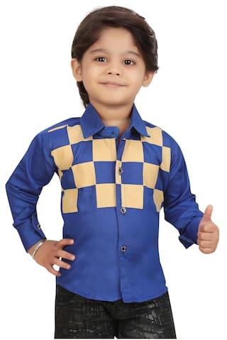 XBOYZ Boy Cotton blend Checked Shirt Blue