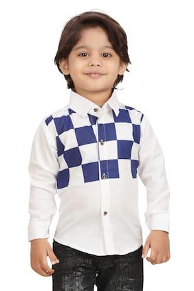 XBOYZ Boy Cotton blend Checked Shirt White