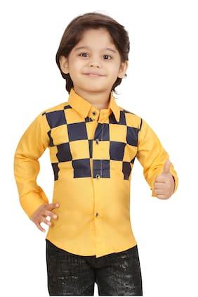 XBOYZ Boy Cotton blend Checked Shirt Yellow