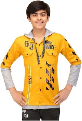 XBOYZ Boy Cotton blend Printed Shirt Yellow