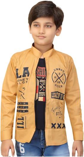 XBOYZ Boy Cotton blend Printed Summer jacket - Beige