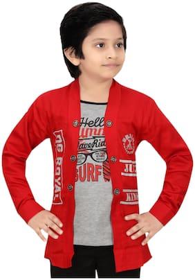 XBOYZ Boy Cotton blend Printed T-shirt - Red & Grey