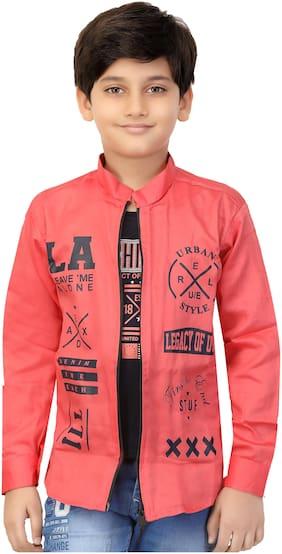 XBOYZ Boy Cotton blend Printed Summer jacket - Pink